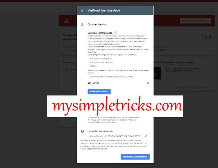Konfirmasi Identitas - Cara Verifikasi Identitas Akun Google Adsense
